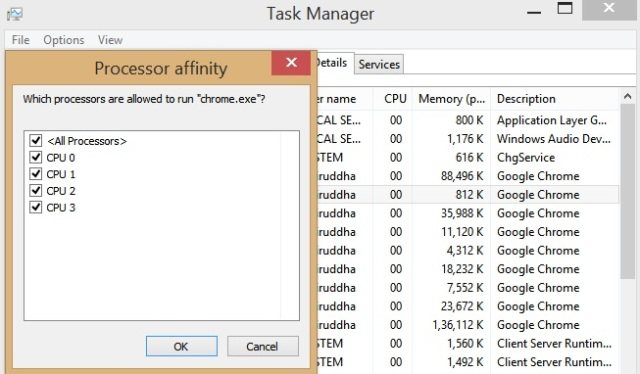 Setting CPU Affinity for process