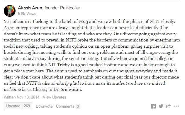 Akash Arun comment on Srinivasan Sundarrajan
