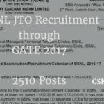 BSNL JTO Recruitment through GATE 2017