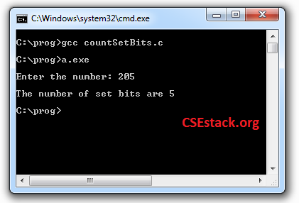 C Program to Count Number of Ones in Binary
