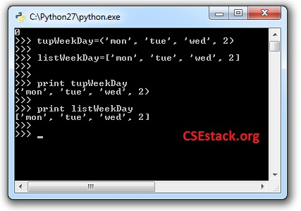 list and tuple example in python