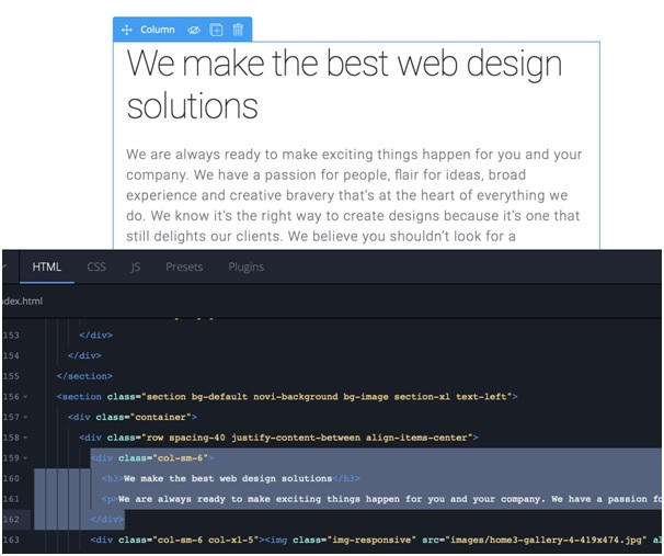 Novi web design toolbar