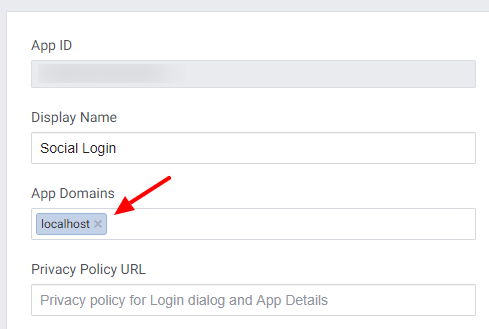 set app domains in facebook app