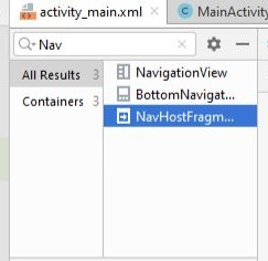 NavHostFragment in container area of Android layout
