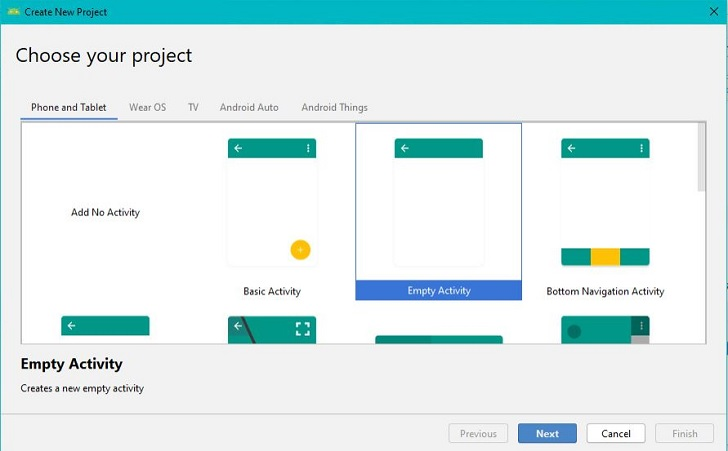 create new project in Android