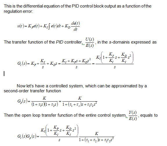 differential equation of PID control system block