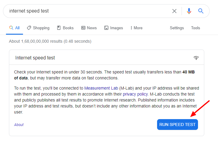 internet speed test by Google Search