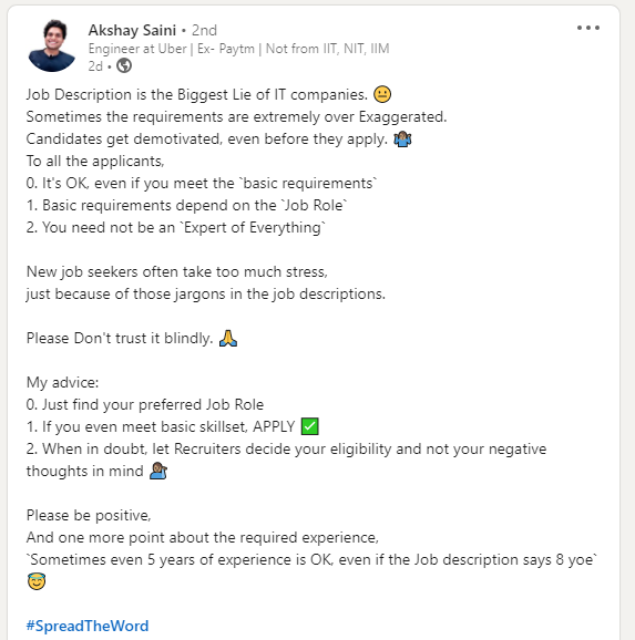 advice over job description in IT companies