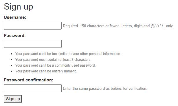 Django sign up registration form