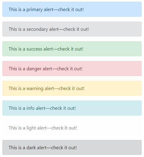 bootstrap alert message colors