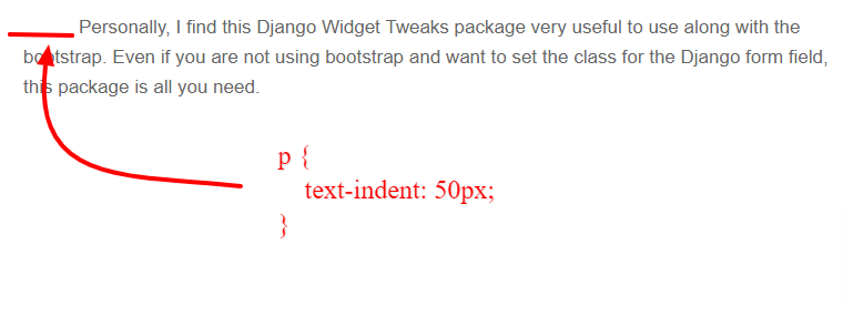 indent first line of paragraph in HTML